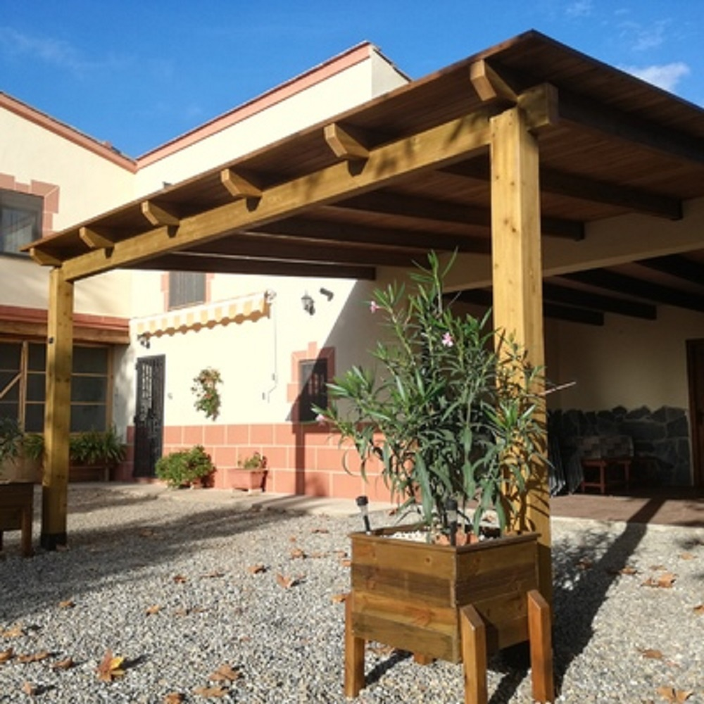 pergola de madera porche estructura madera cenadores en tejados Donosti